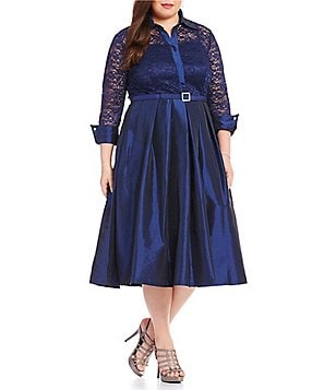Eliza J Plus 3/4 Sleeve Collar Neck Lace Bodice Belted Shirt Dress