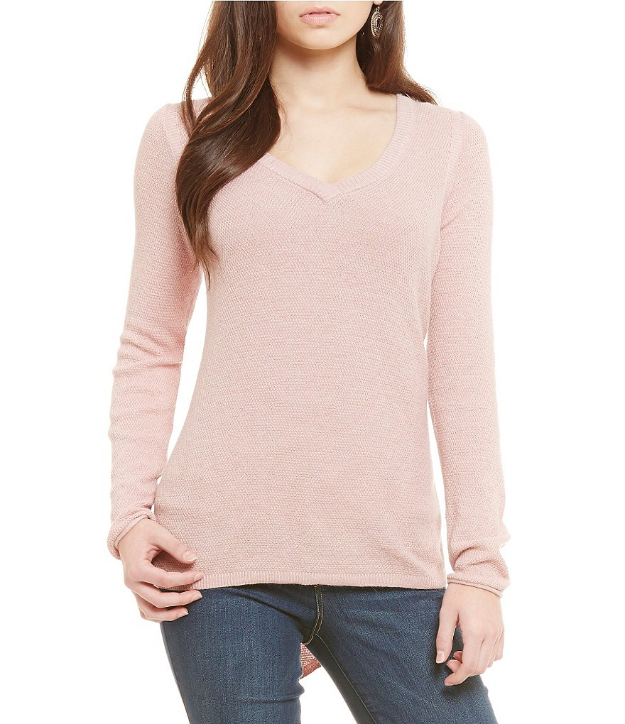 Democracy V-Neck Lace Up Back Light Weight Sweater