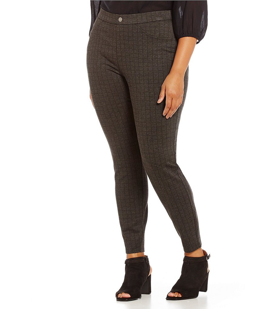 Intro Plus Double Knit Plaid Printed Leggings