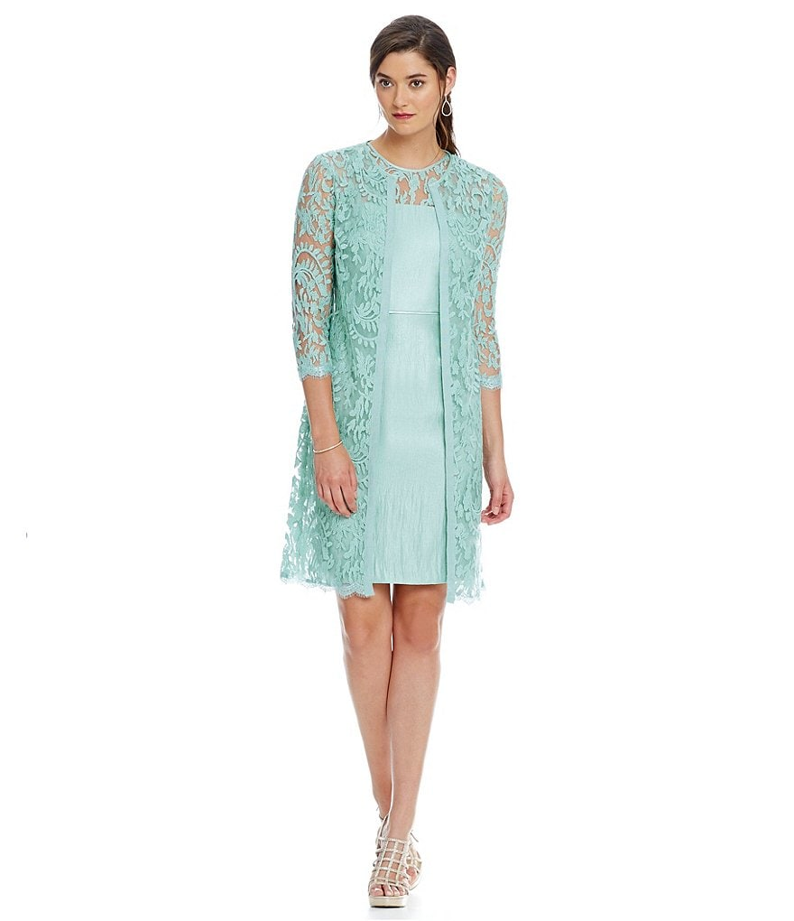 Adrianna Papell 3/4 Sleeve Lace Jacket Dress