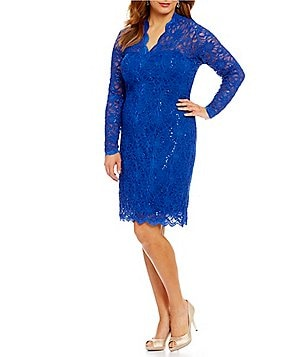 Marina Plus Stretch Floral-Lace Dress