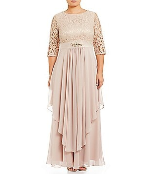 Eliza J Plus Lace Bodice Chiffon Layered Gown