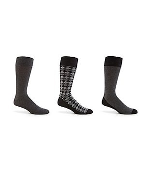 Cole Haan Diamond Stripe Crew Dress Socks 3-Pack