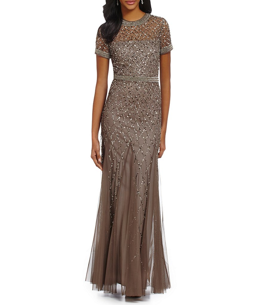 Adrianna Papell Petite Beaded Cap-Sleeve Gown