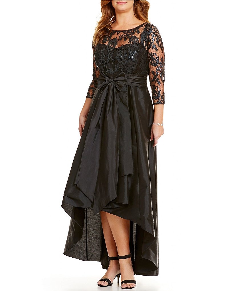 Adrianna Papell Plus Illusion Lace Gown