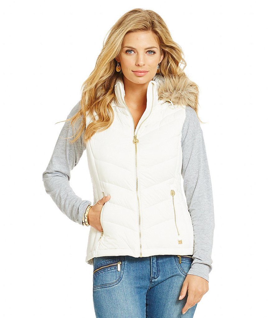 MICHAEL Michael Kors Quilted Down Vest with Detachable Faux-Fur Hood