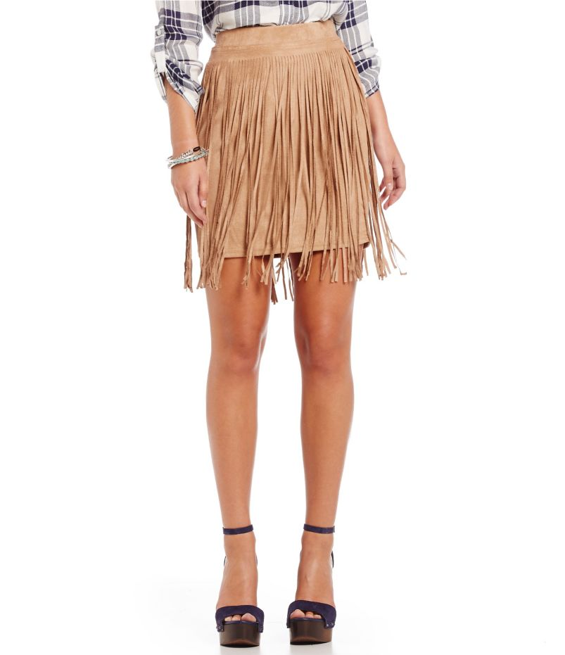 Fornia Faux-Suede Fringe Skirt