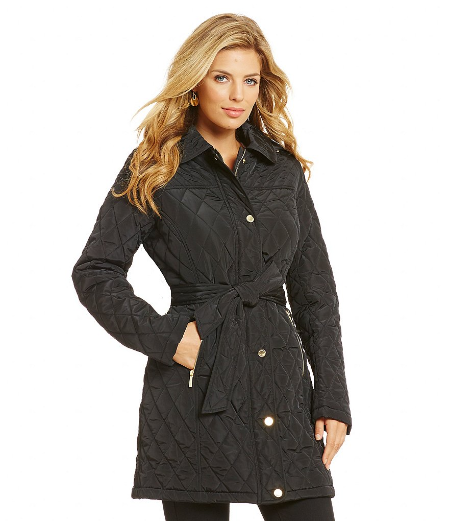 MICHAEL Michael Kors Belted Quilted Coat with Detachable Hood