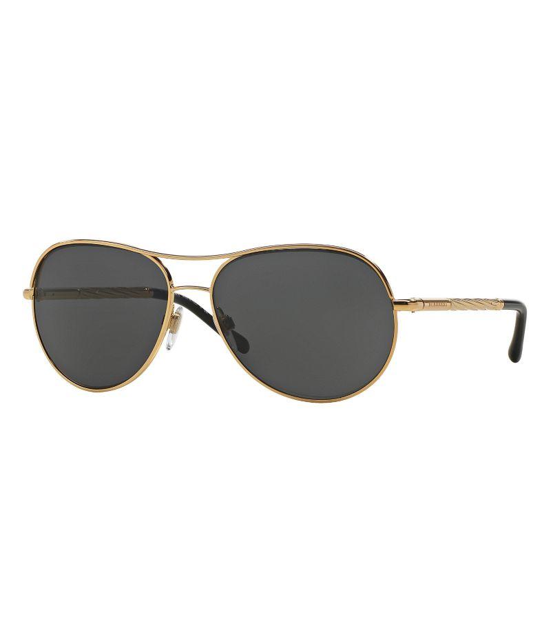 Burberry Gabardine Gold Aviator Sunglasses