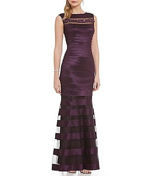 Emma Street Sleeveless Illusion Banded Gown