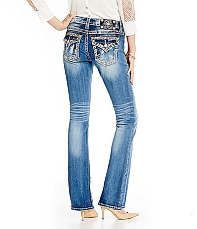Miss Me Distressed Border-Embellished Bootcut Jeans