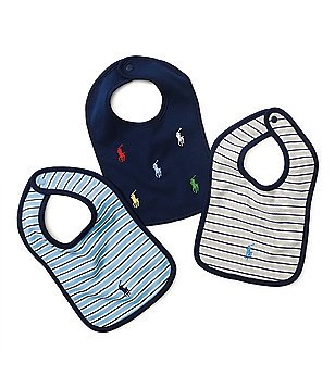 Ralph Lauren Childrenswear 3-Pack Striped & Schiffli Print Bib Set