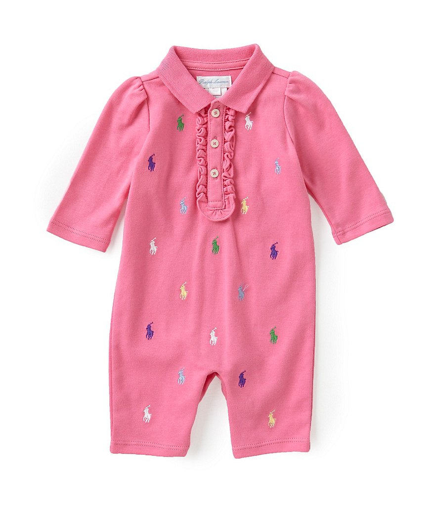 Ralph Lauren Childrenswear Baby Girls Newborn-12 Months Schiffli-Embroidered Coveralls