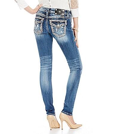 Miss Me Distressed Border-Embellished Skinny Jeans
