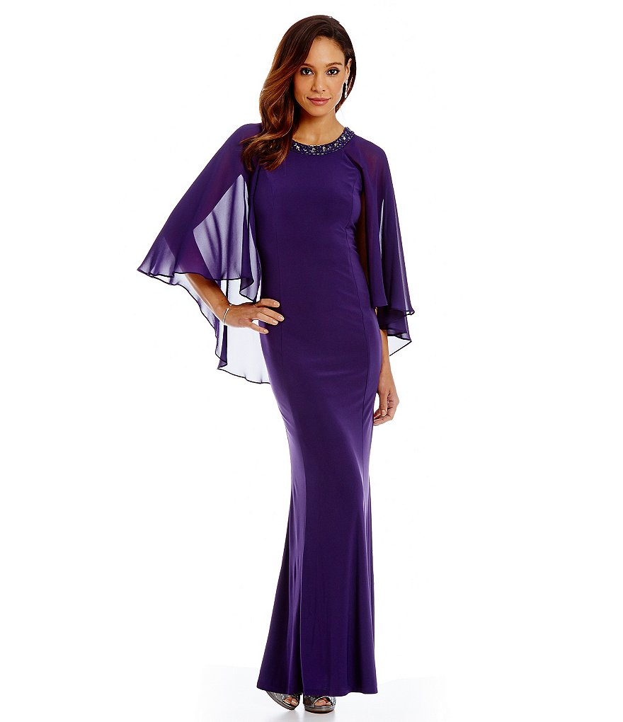 S.L. Fashions Capelet Chiffon Gown