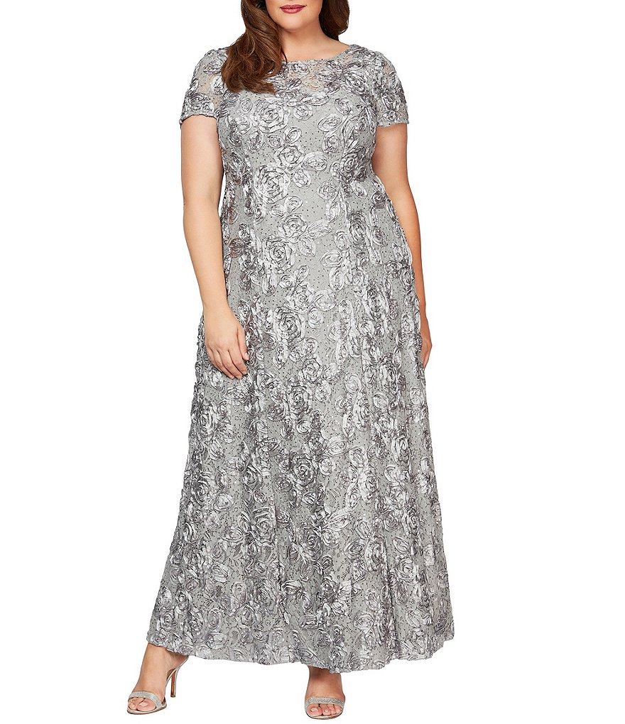 Alex evenings plus a line rosette gown dillards for Dillards plus size wedding guest dresses