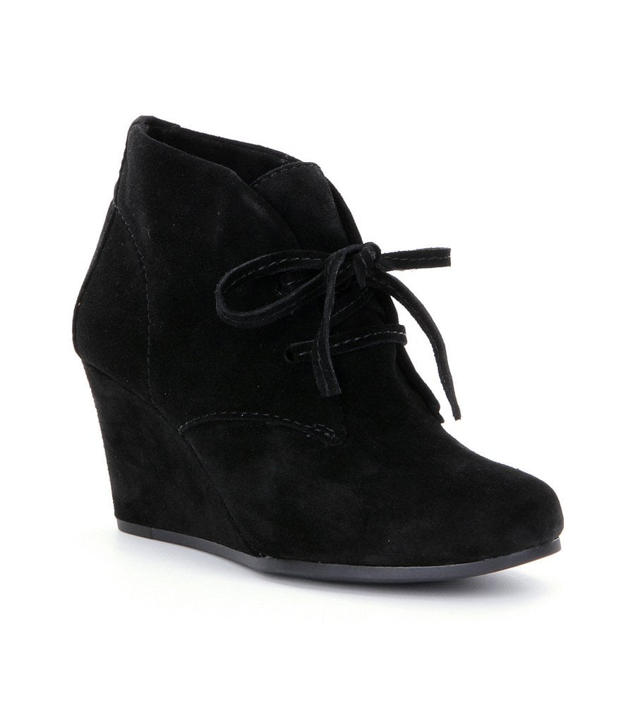 Gianni Bini Karrlynn Wedge Lace-Up Suede Booties