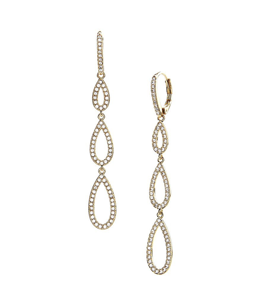 Nadri Pavé Triple Teardrop Linear Earrings