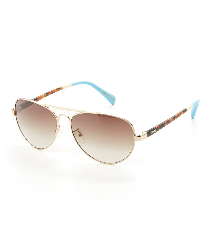 TOMS Maverick Gold Aviator Sunglasses