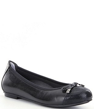 Vionic® Spark Minna Bow Cap-Toe Leather Ballet Flats