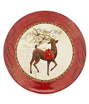 Certified International Winter Garden Reindeer Dinner Plate