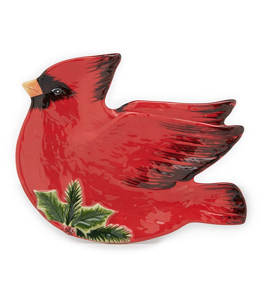 Certified International Winter Garden 3-D Cardinal Candy Plate