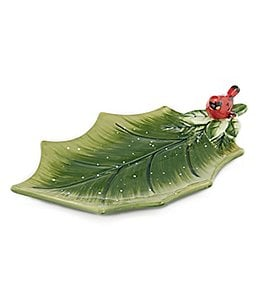 Certified International Winter Garden 3-D Holly Leaf with Cardinal Platter Image