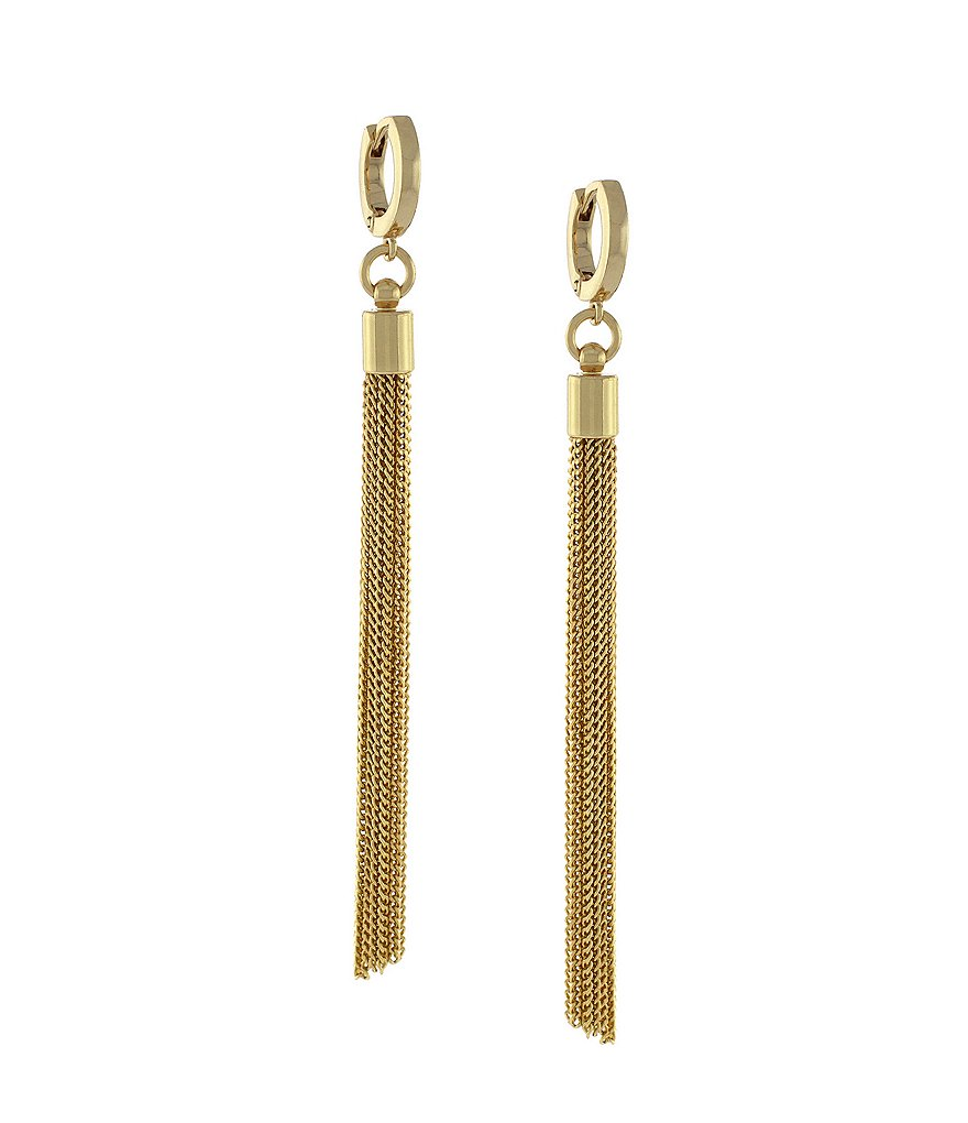 Vince Camuto Haute Gold Plated Tassel Linear Earrings