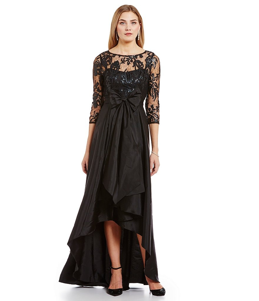 Adrianna Papell Petite Illusion Lace Bodice Gown