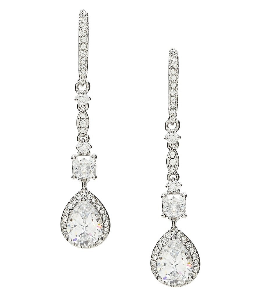 Nadri Pear Cubic Zirconia Linear Drop Earrings