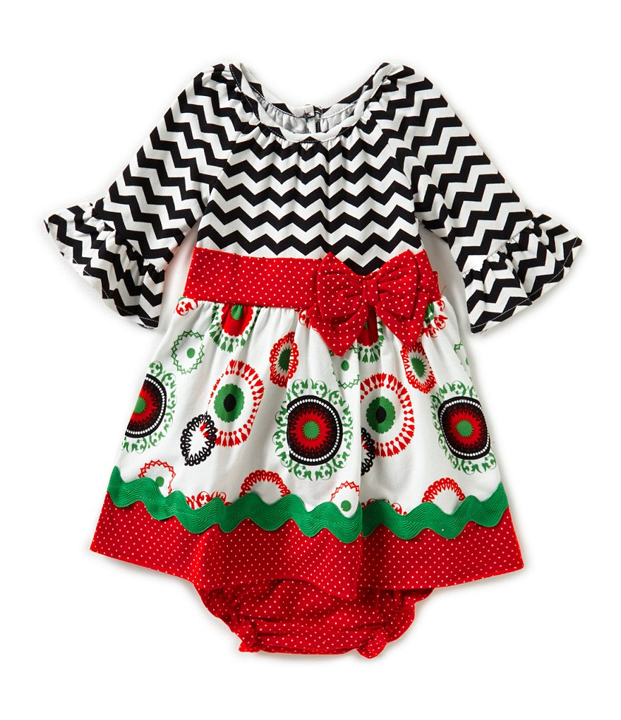 Counting Daisies 12-24 Months Christmas Mixed-Media-Printed Dress