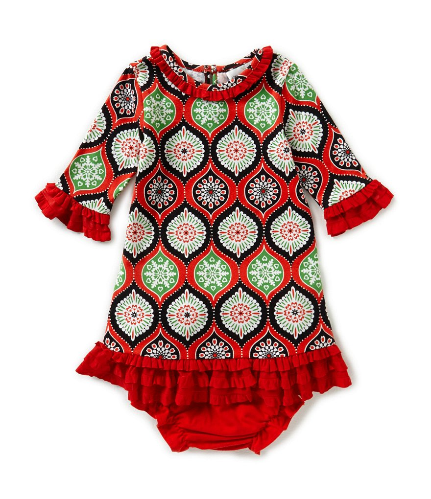 Counting Daisies 12-24 Months Eyelash-Trimmed Christmas Geometric-Print Dress