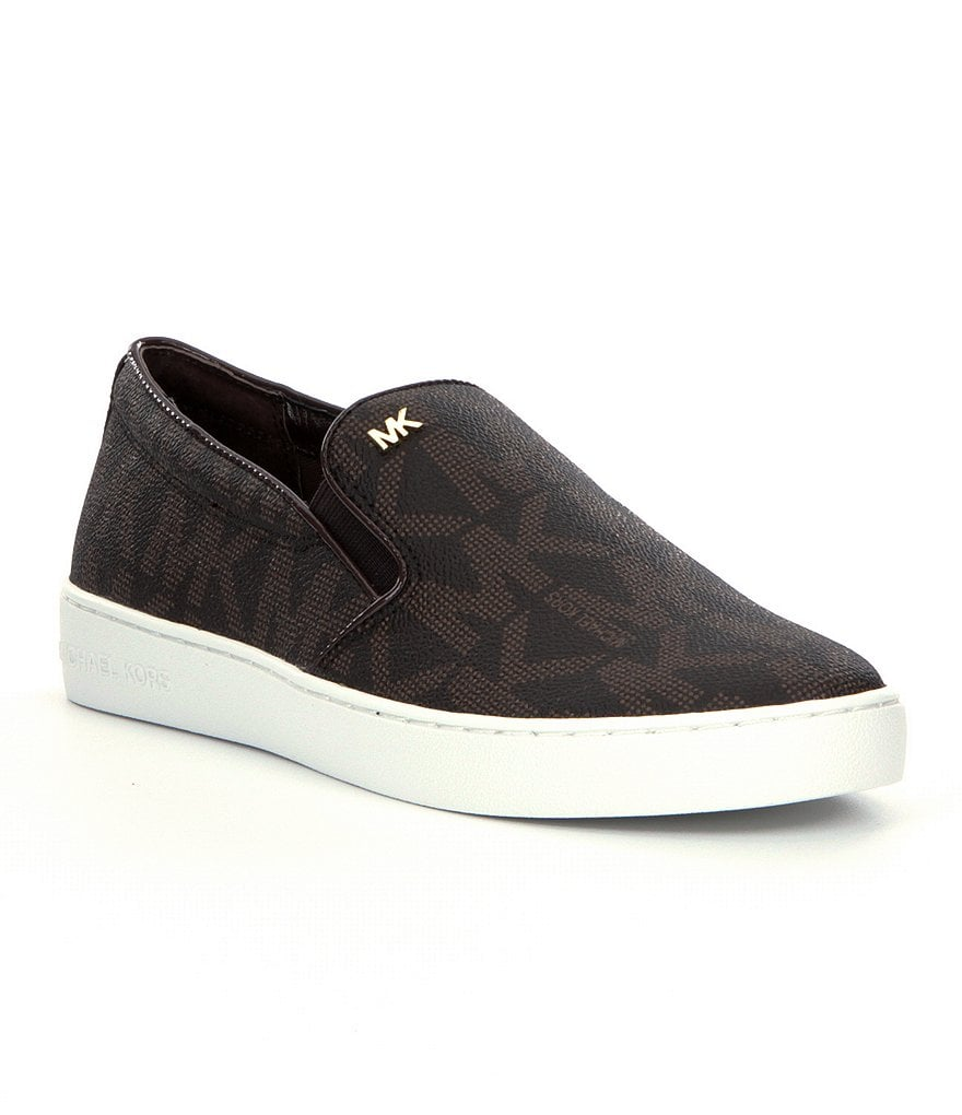 MICHAEL Michael Kors Keaton Leather MK Print Slip-On Sneakers