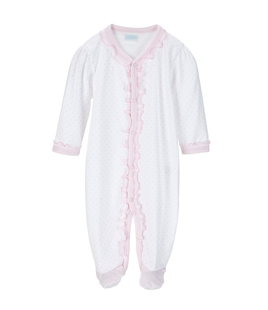 Edgehill Collection Baby Girls Newborn-6 Months Dotted Footed Coveralls