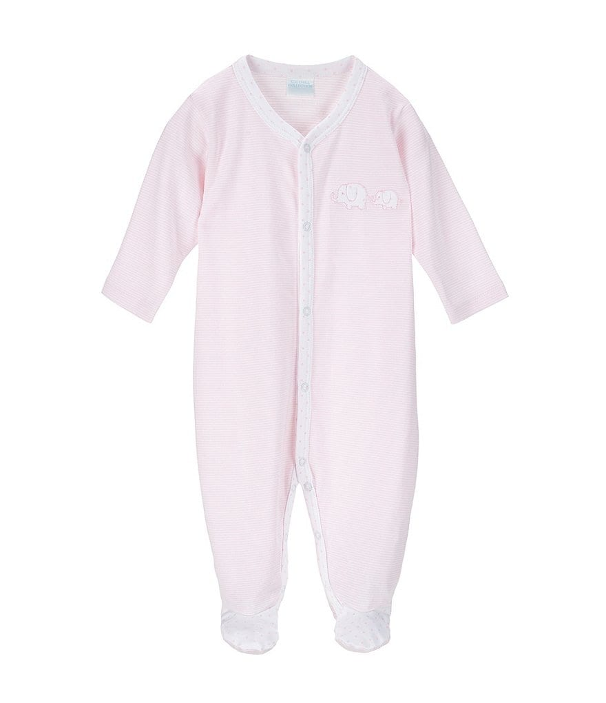 Edgehill Collection Baby Girls Newborn-6 Months Elephant Footed Coveralls