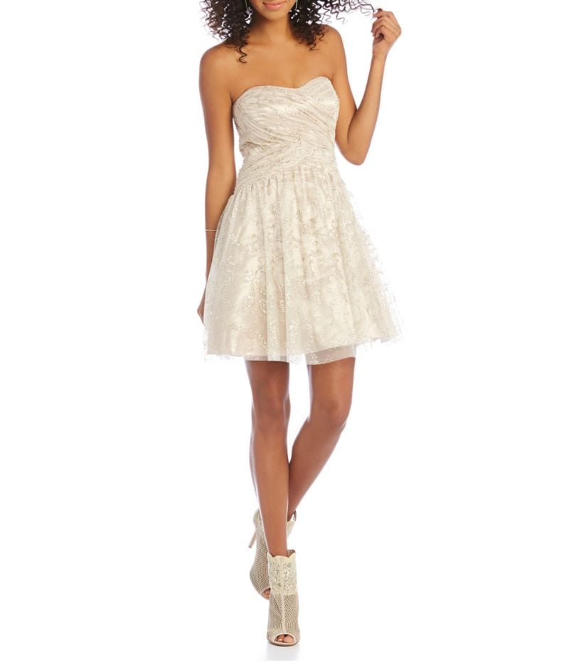 Jump Scroll Glitter Party Dress