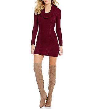 I.N. San Francisco Cowl Neck Cable Knit Sweater Dress
