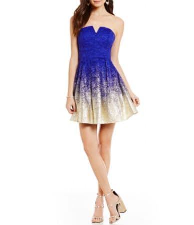 B Darlin Strapless Foil Lace Fit And Flare Party Dress