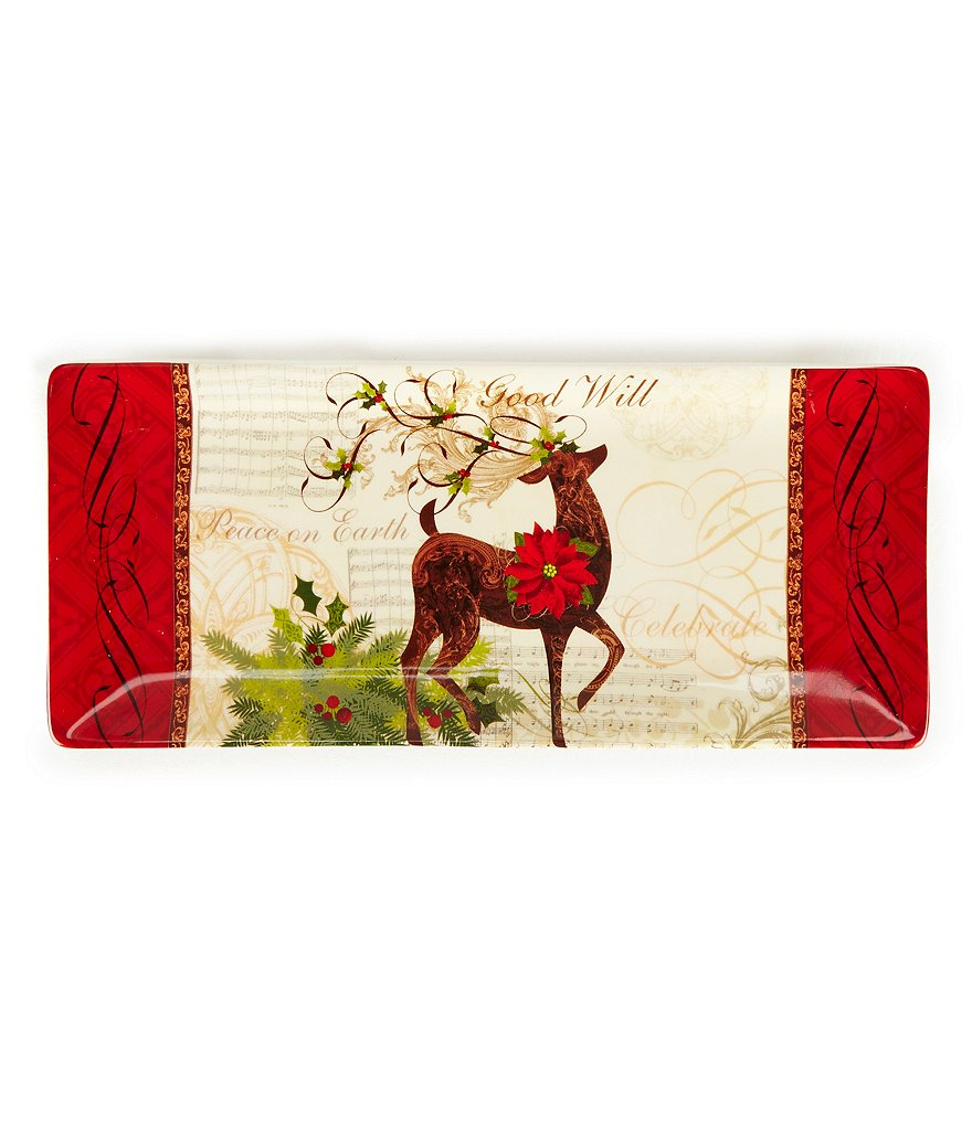 Certified International Holiday Winter Garden Rectangular Reindeer Tray
