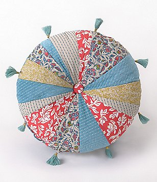 Jessica Simpson Amrita Tasseled Button-Tufted Patchwork Round Pillow
