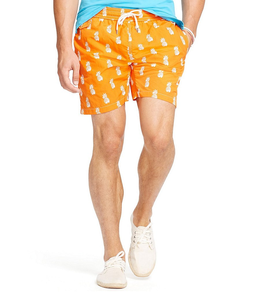 Polo Ralph Lauren Pineapple-Print Traveler Swim Trunks