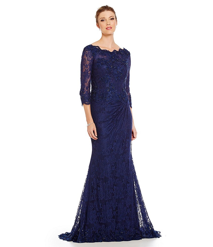 MGNY Madeline Gardner New York Scallop Lace Gown