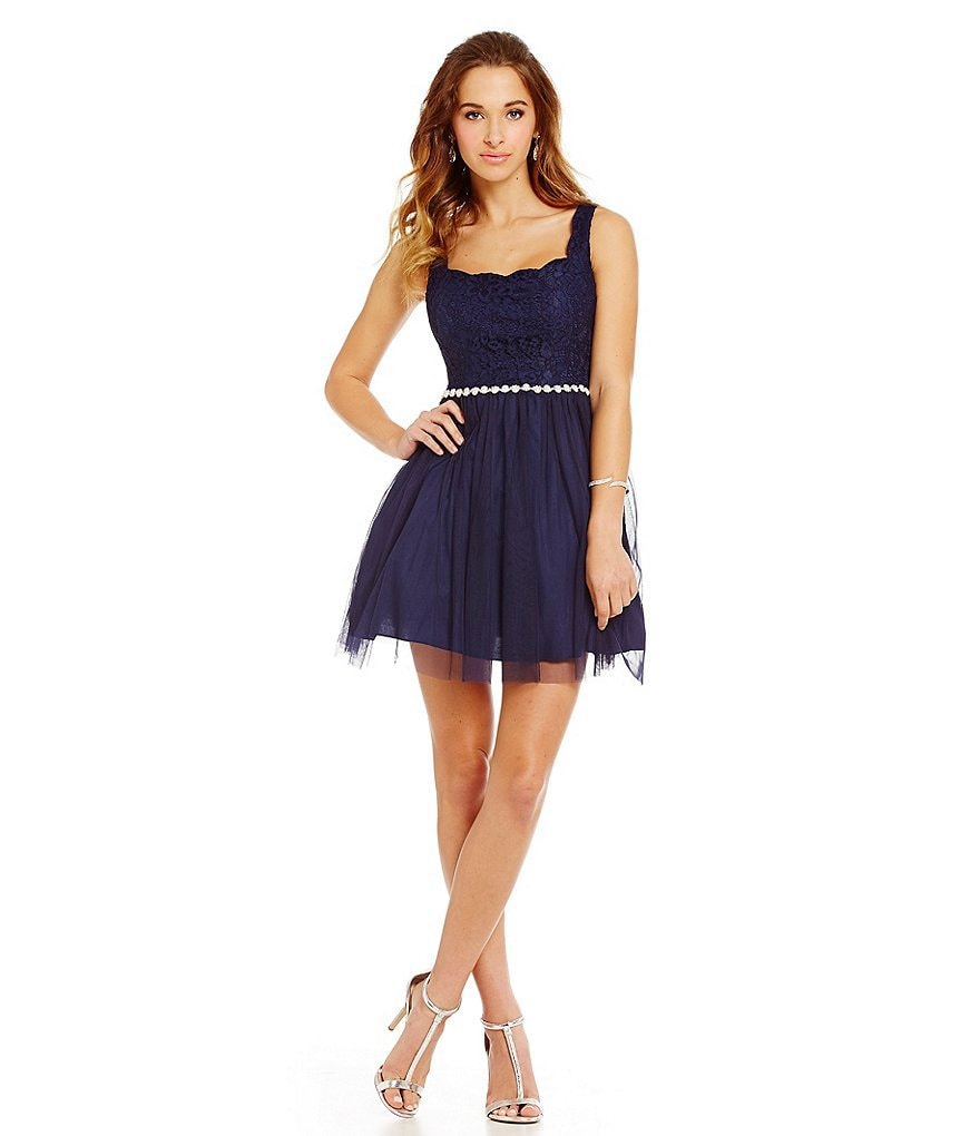 Jodi Kristopher Scalloped Neck Lace Bodice A-line Party Dress