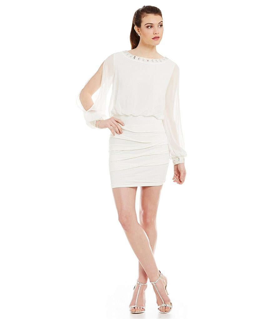 Jodi Kristopher Long Sleeve Cuffed Blouson Sheath Dress