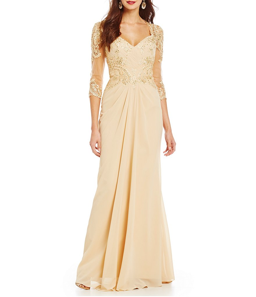 MGNY Madeline Gardner New York Beaded Applique Chiffon Gown