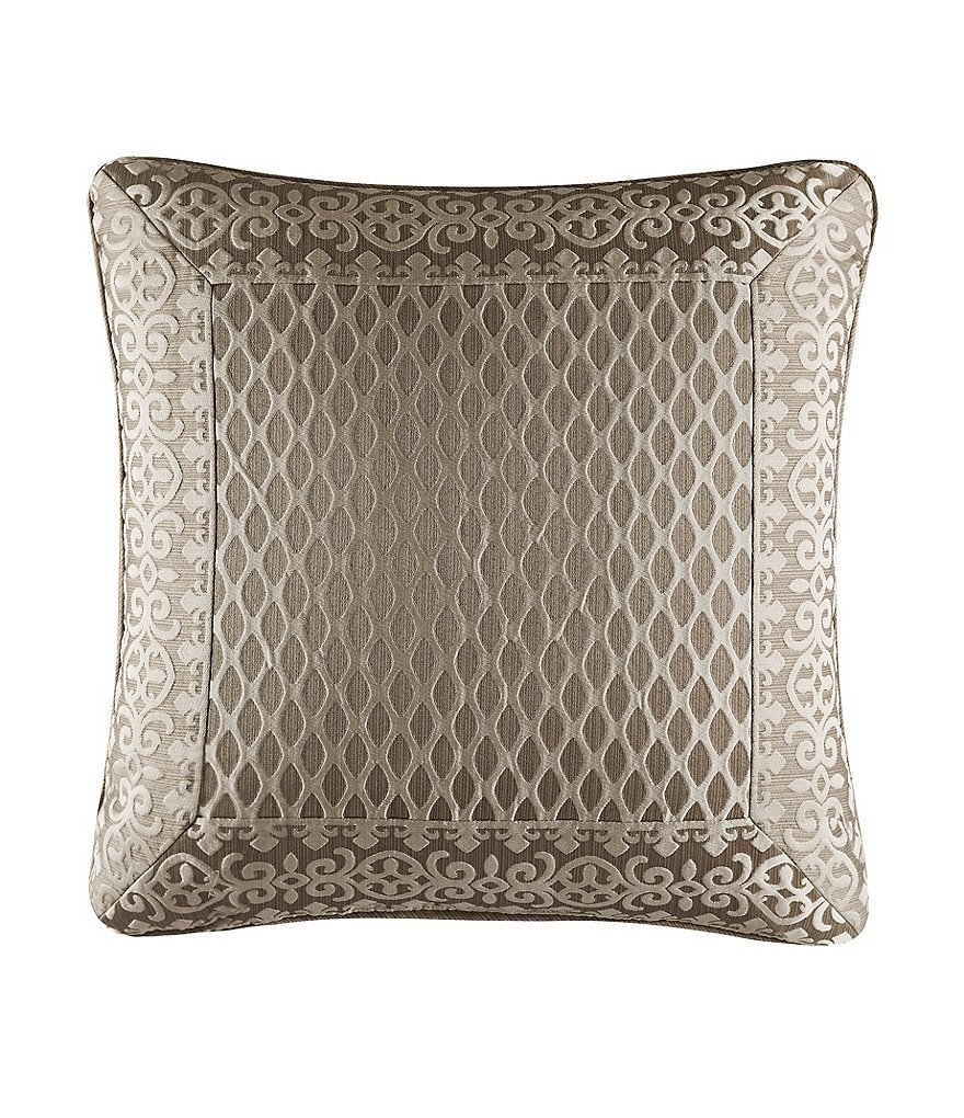 J. Queen New York Bohemia Damask-Bordered Geometric Square Pillow