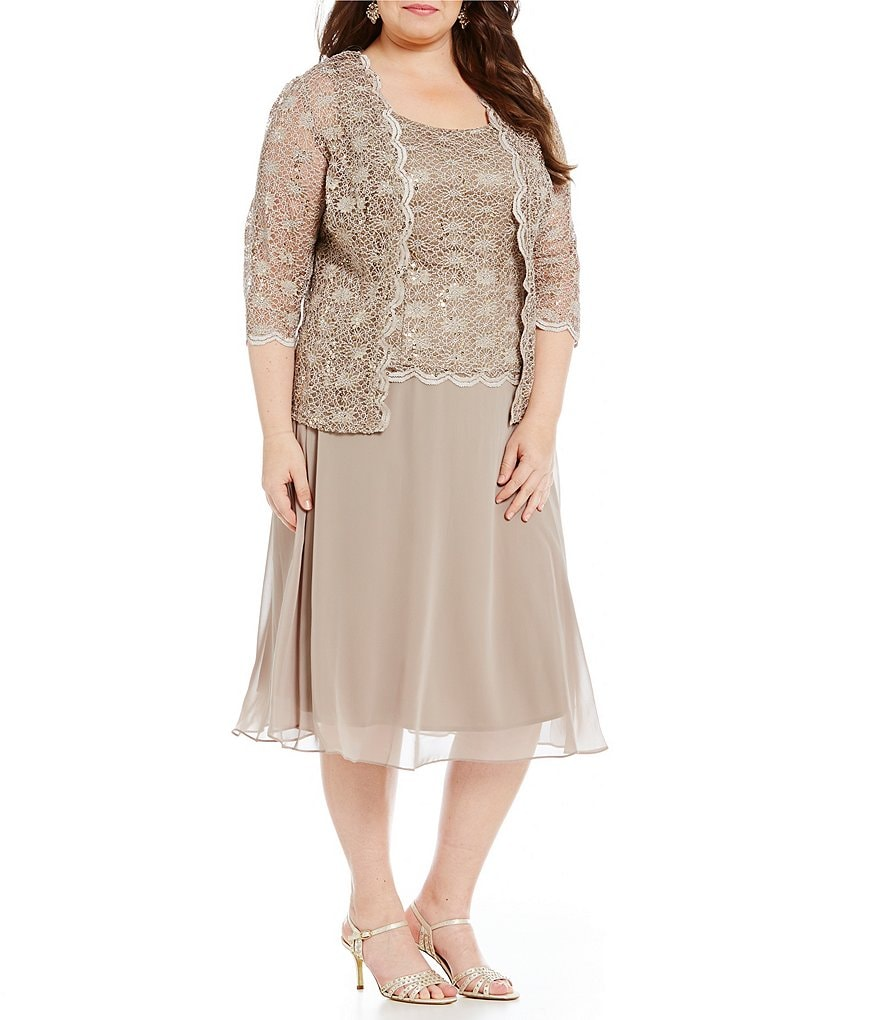 R&M Richards Plus Lace-Chiffon Jacket Dress