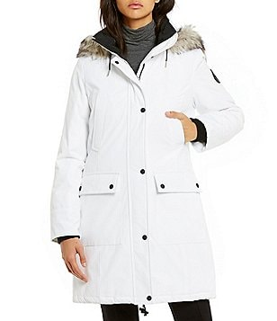 Calvin Klein Faux-Fur Trim Detachable Hood Parka