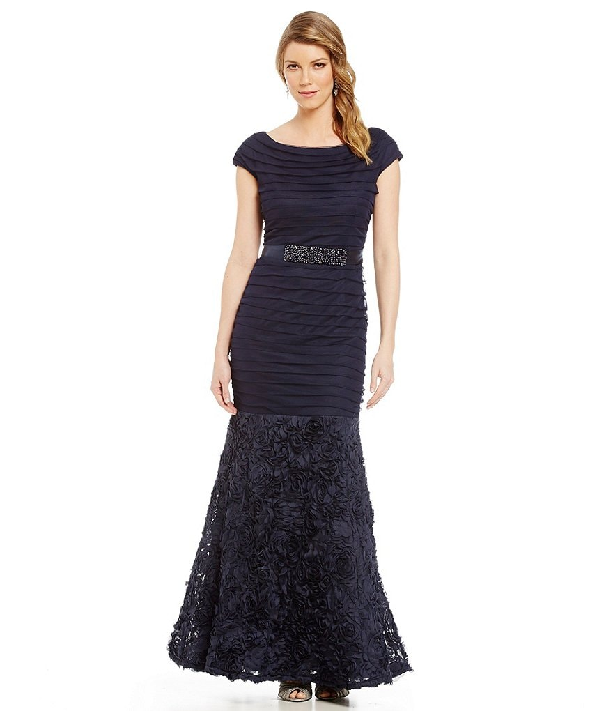 Emma Street Banded Cap Sleeve Mermaid Gown