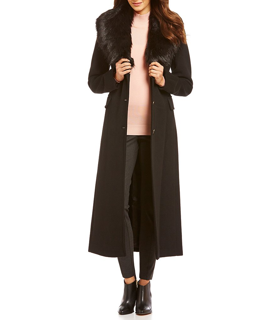 Calvin Klein Faux-Fur Shawl Collar Maxi Wool Coat